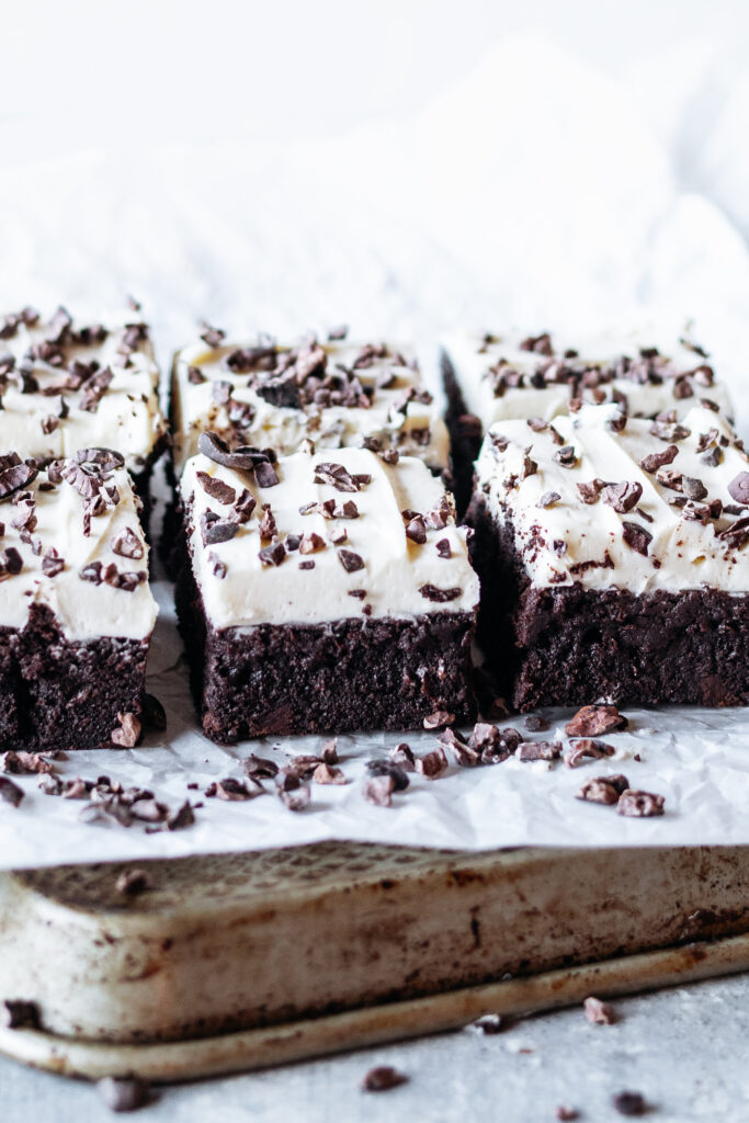 Chocolate Fudge Mint Chip Brownies on parchment paper