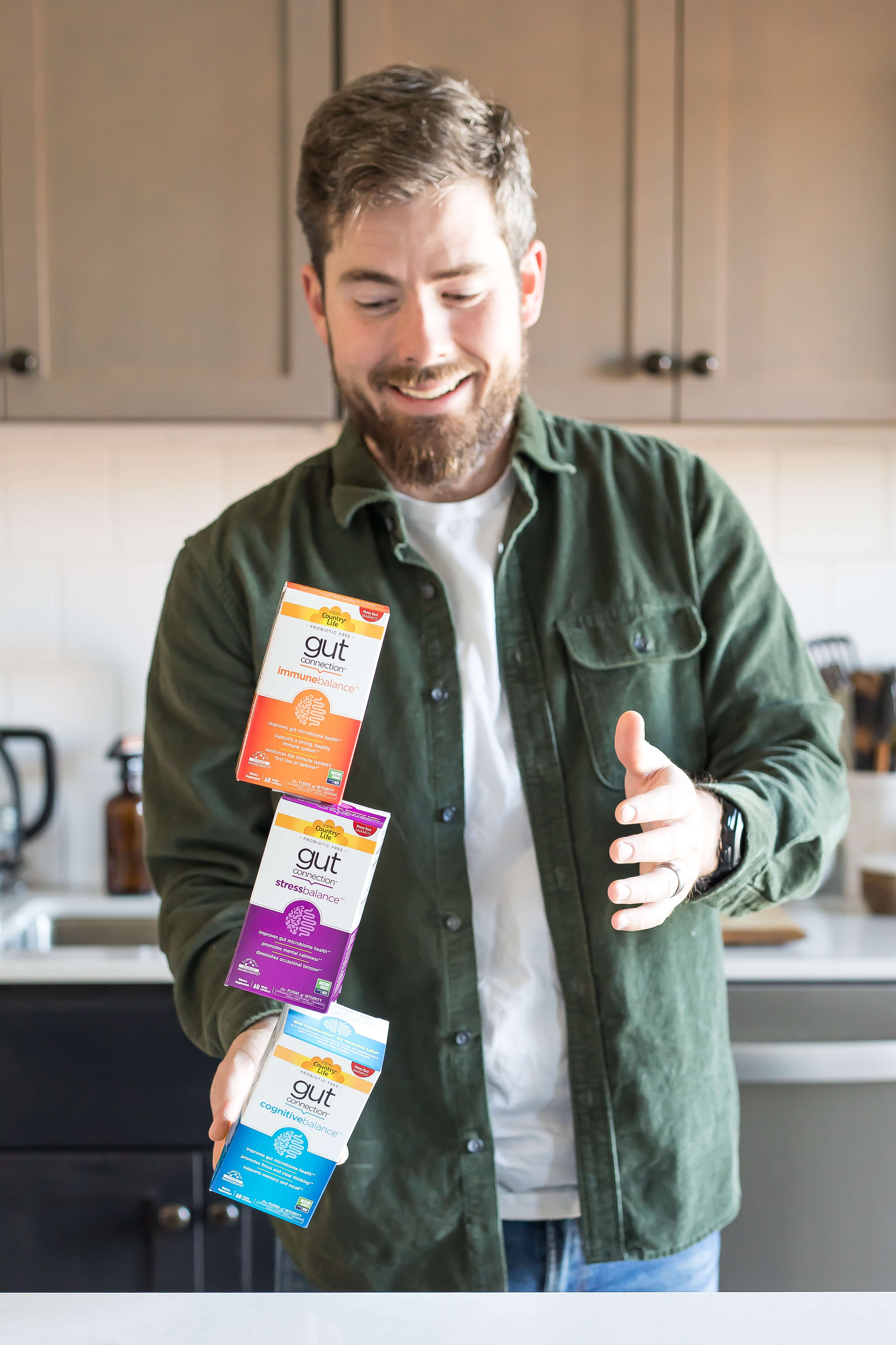 balancing multiple boxes of gut connection supplements