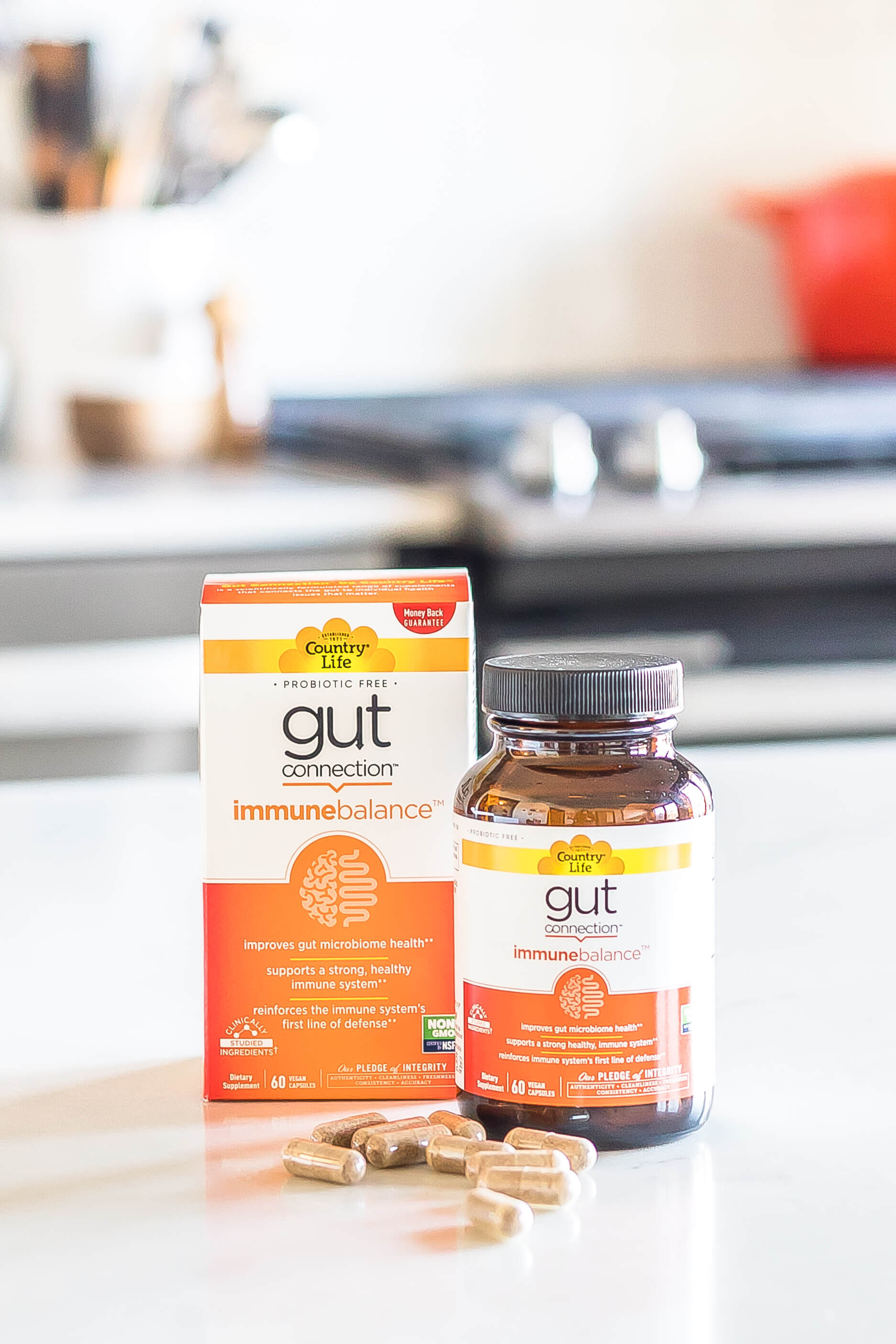 Gut Connection Supplement on counter